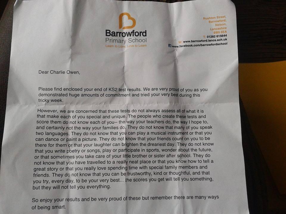 Barrowford school lettre